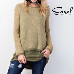 EASEL LOS ANGELES Olive Sweater w/ Chiffon Layers